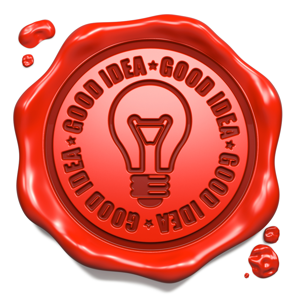 Good Idea Slogan with Light Bulb Icon - Stamp on Red Wax Seal Isolated on White. Business Concept.